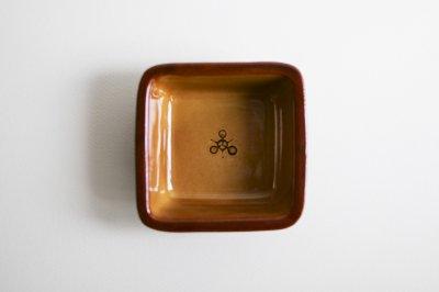 湯町窯 - 角深鉢 〈黄釉・花〉