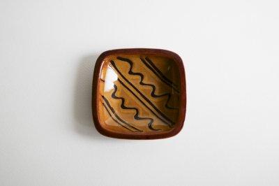 湯町窯 - 4号角皿 〈黄釉・波〉