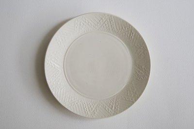 郡司製陶所 - 型打皿・6寸〈白・幾何学〉