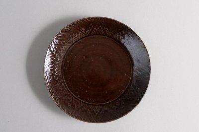郡司製陶所 - 型打皿・6寸〈濃飴・幾何学〉