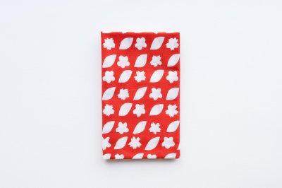 山内染色工房 - 型染手ぬぐい〈花便り・赤白〉
