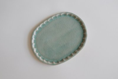 五十嵐元次 -  鎬楕円皿・中〈青磁〉