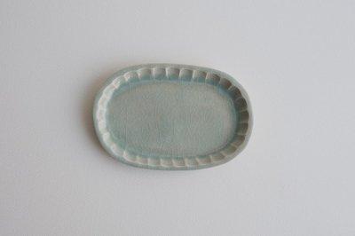 五十嵐元次 - 鎬楕円皿 小〈青磁〉