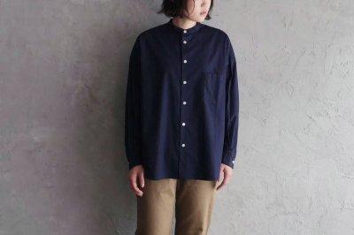 KOTON - ブロードスタンドカラーシャツ〈ネイビー〉