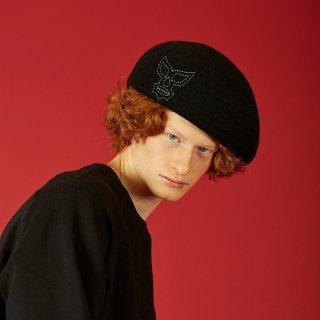 ポテクチマスク刺繍ベレー帽 ブラック