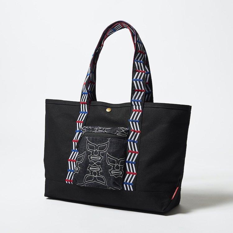ポテクチマスクキルティングポケット 帆布トートバッグ ブラック×インディゴ