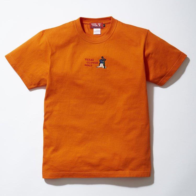 テキサスクローバーホールド刺繍Tシャツ オレンジ
