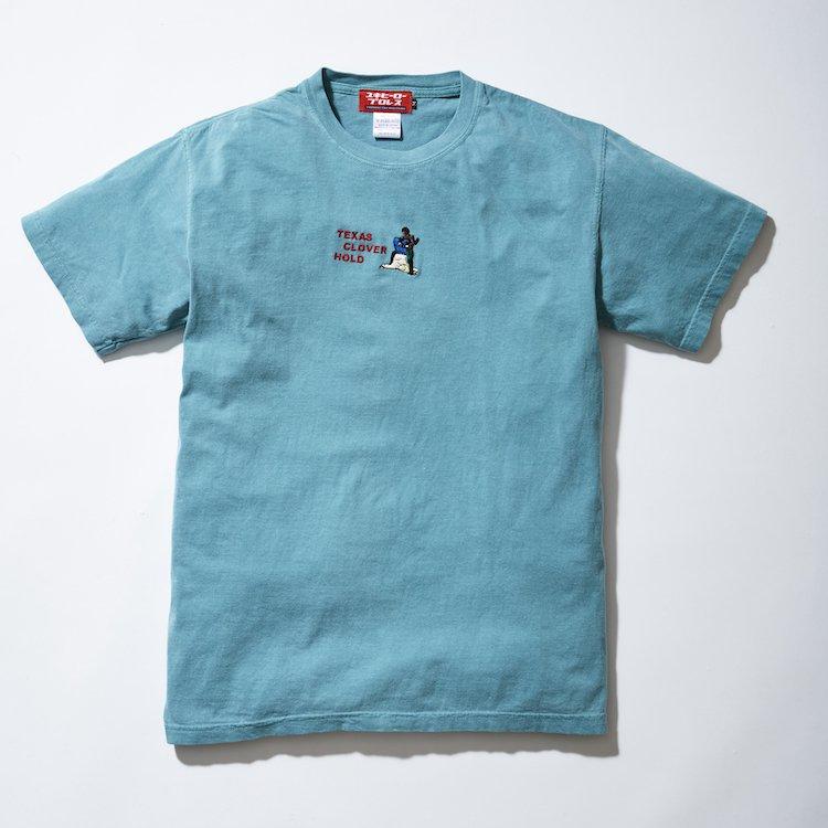 テキサスクローバーホールド刺繍Tシャツ ブルーグリーン