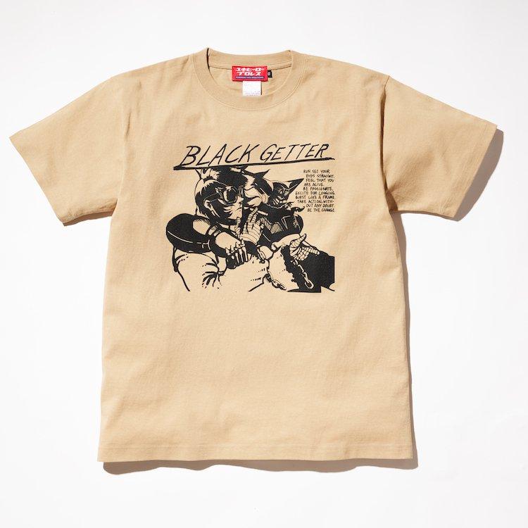 黄昏れSHOOT/BLACKゲッターRECORDTシャツ ベージュ