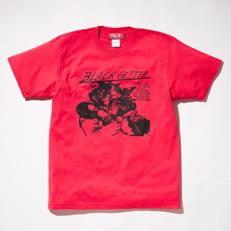 黄昏れSHOOT/BLACKゲッターRECORDTシャツ レッド