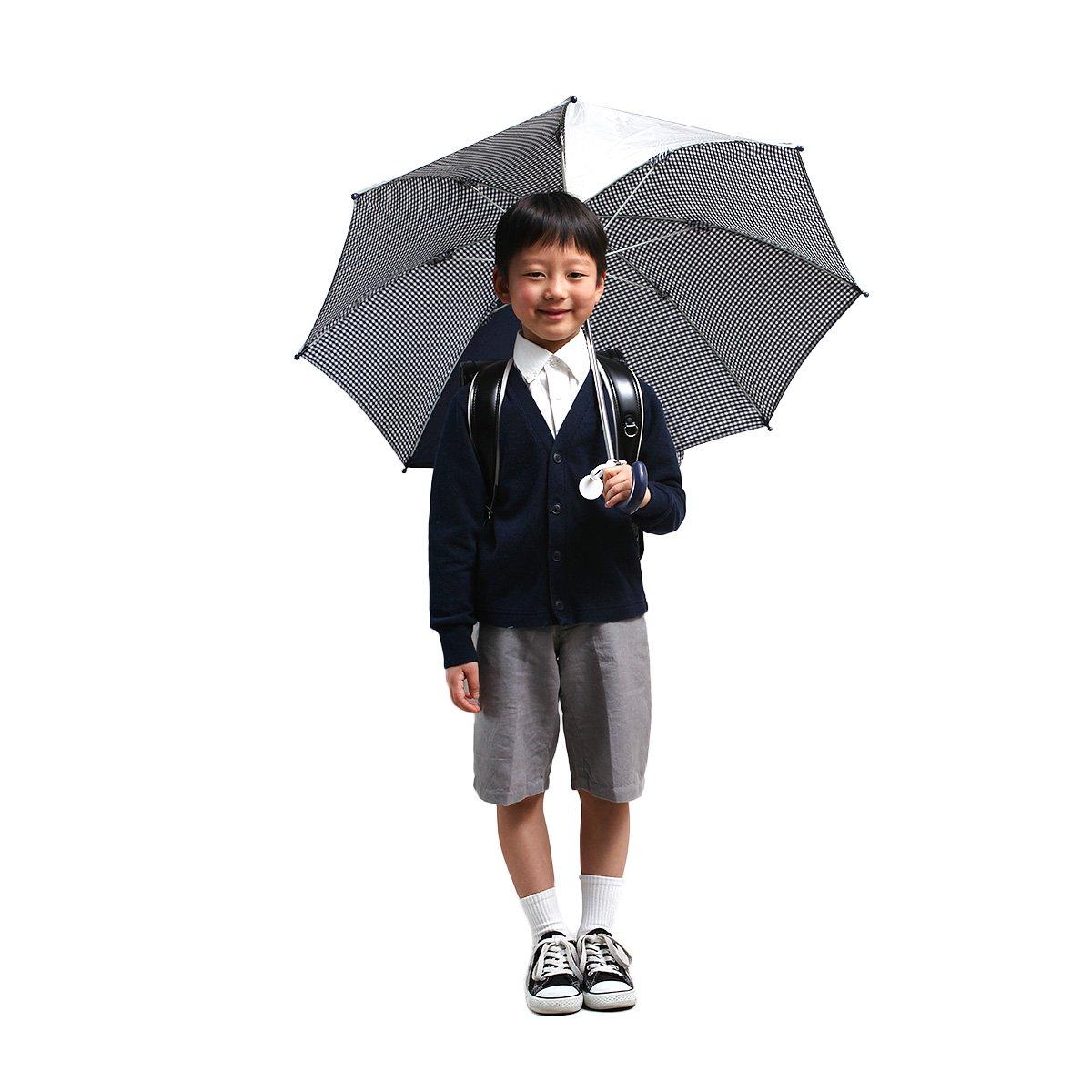 キッズ スクール ギンガムチェック 長傘(ネイビー) 詳細画像8