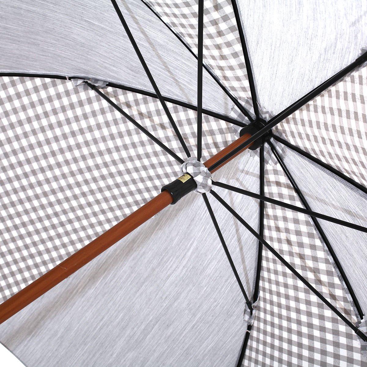 【晴雨兼用傘】レディース ギンガム×無地コンビ 長傘 詳細画像5
