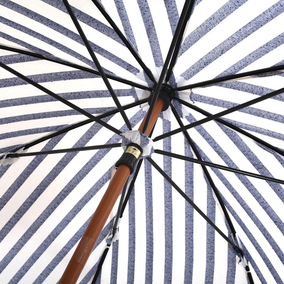 【晴雨兼用傘】レディース ネップストライプ 長傘 詳細画像6