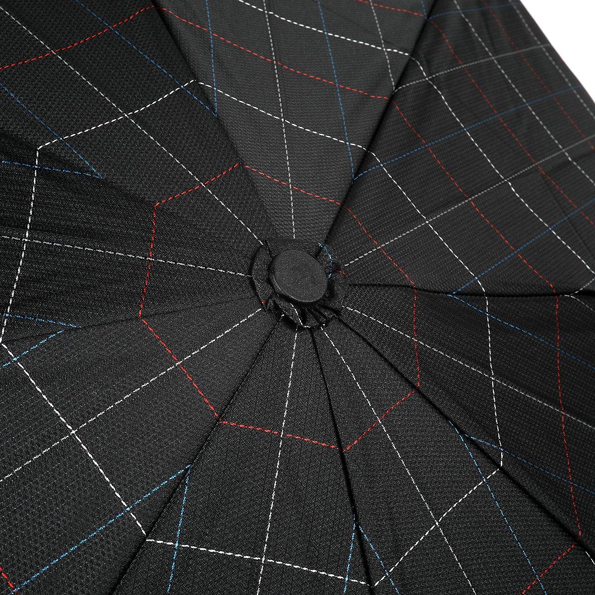 ステッチ ブロックチェック 耐風骨 折りたたみ傘 詳細画像8