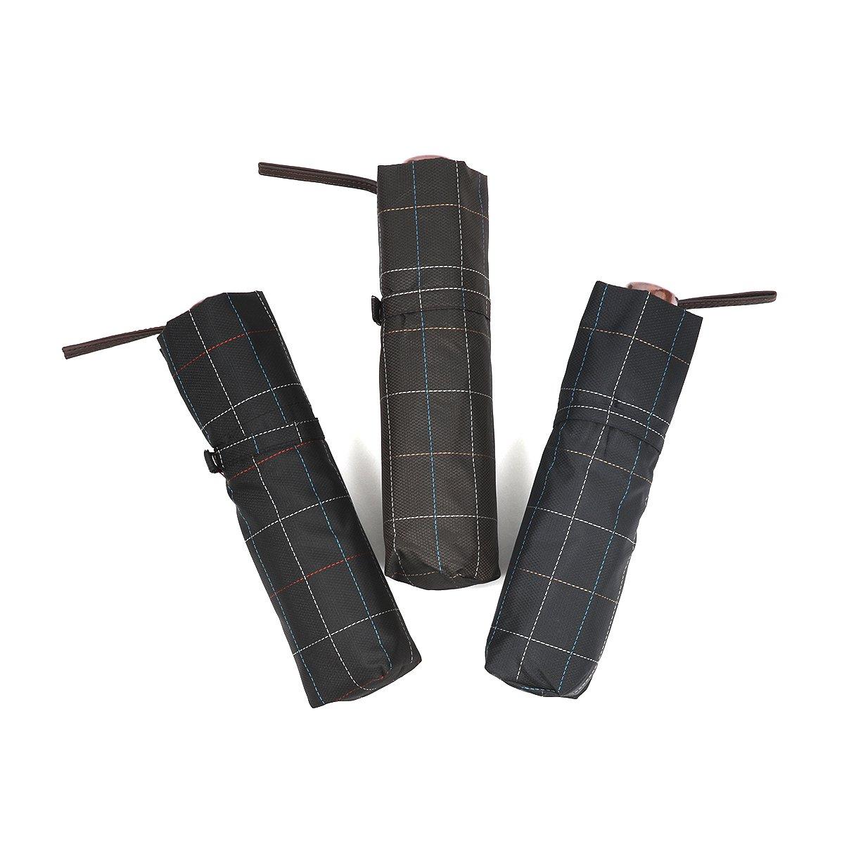 ステッチ ブロックチェック 耐風骨 折りたたみ傘 詳細画像9