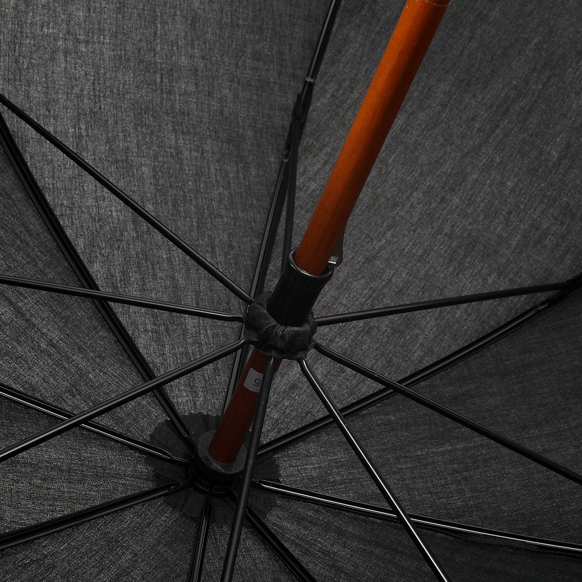 【晴雨兼用傘】レディース コットン 無地 長傘 詳細画像5