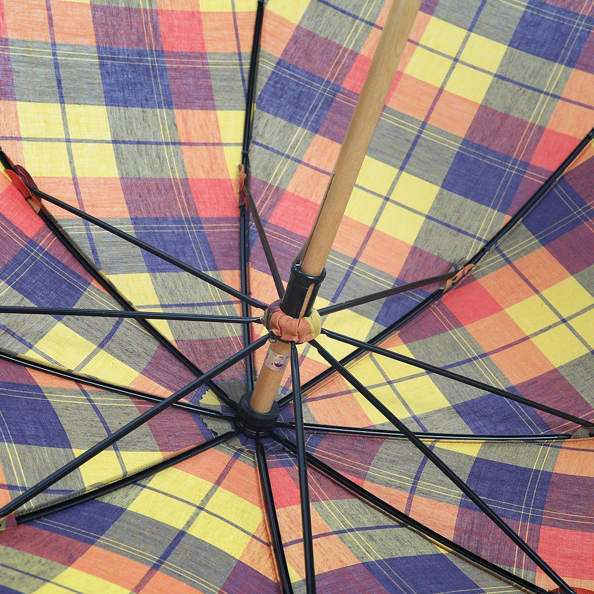 """【晴雨兼用傘】東京洋傘 レディース """"竹くるんぱ"""" マドラスチェック 長傘 詳細画像5"""