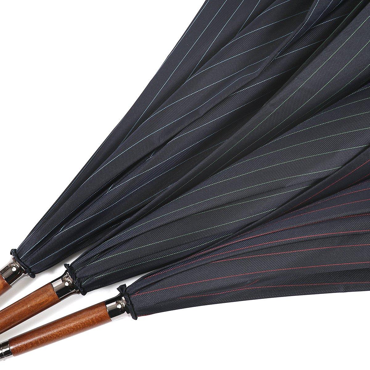 【セール】ネイビー ヘリンボーン ツイル カラー ストライプ 長傘 詳細画像9