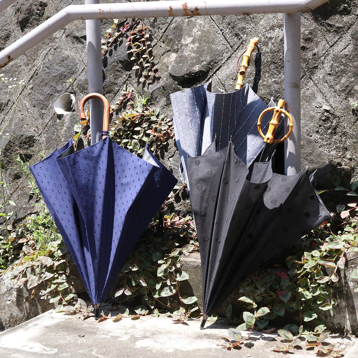 【晴雨兼用傘】スライドシャフト ブラック×ブラック ドット 日傘 詳細画像12