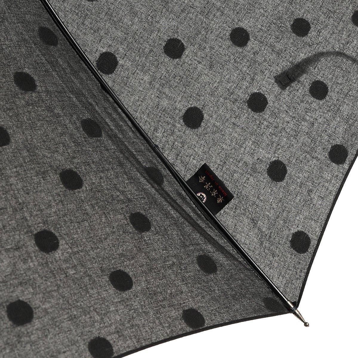 【晴雨兼用傘】スライドシャフト ブラック×ブラック ドット 日傘 詳細画像5