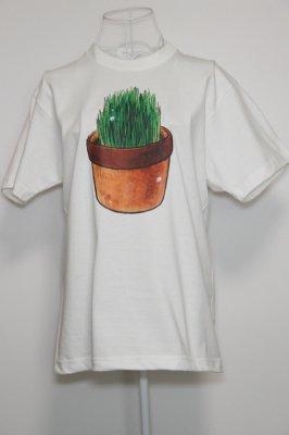 プリントTシャツ【猫草】 ホワイト