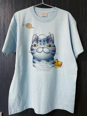 プリントTシャツ【月見風呂】 ブルー