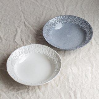 ハイド - 深皿(ホワイト・グレー)<br>ペアセット<br><h3>【送料別】</h3>
