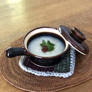 伊賀土 耐熱 片手雑炊鍋(飴釉:茶)