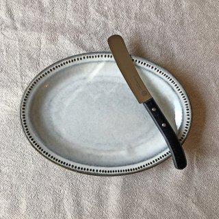 リムドット オーバルプレート24�+ケーキ&パテナイフ(ブラック)のセット商品