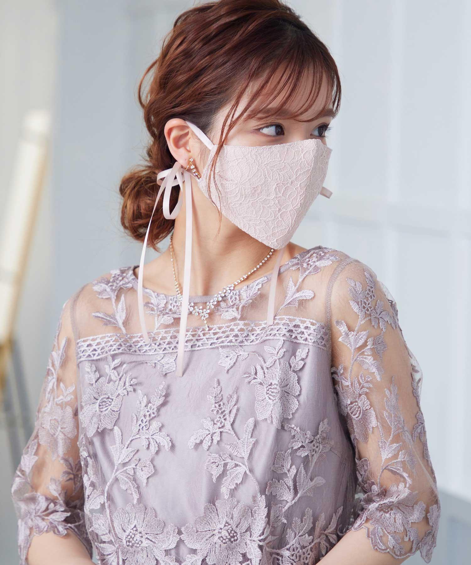 【ドレスにぴったり!】リボンレースマスク