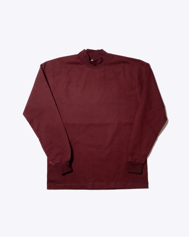 【CAMBER キャンバー】Unisex Heavyweight 8oz Long sleeve Mock Turtle T-shirt Made in the USA BURGUNDY