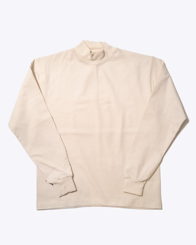 【CAMBER キャンバー】Unisex Heavyweight 8oz Long sleeve Mock Turtle T-shirt Made in the USA NATURAL