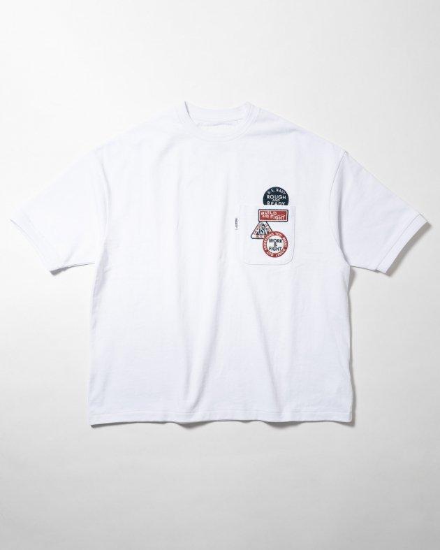 【FIDELITY フィデリティ】ユニセックス ワッペン付き ショートスリーブTシャツ ホワイト