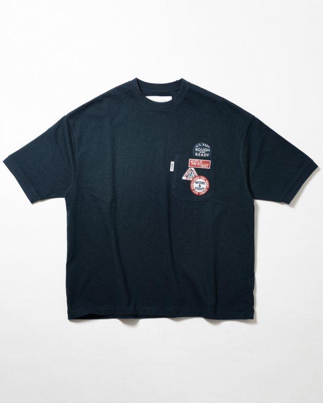 【FIDELITY フィデリティ】ユニセックス ワッペン付き ショートスリーブTシャツ ネイビー