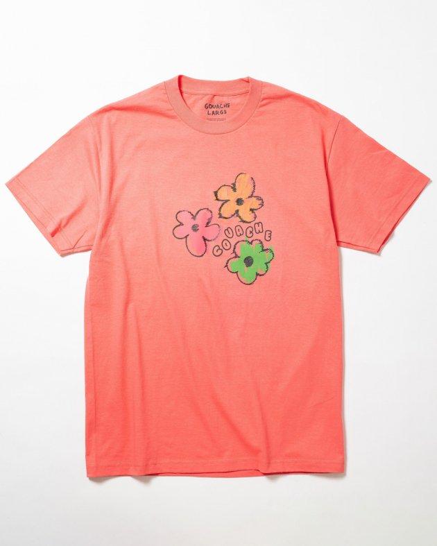【GOUACHE ガッシュ】UNISEXショートスリーブTシャツ 「FLOWER POWER」 ピーチ