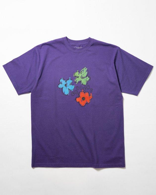 【GOUACHE ガッシュ】UNISEXショートスリーブTシャツ 「FLOWER POWER パープル