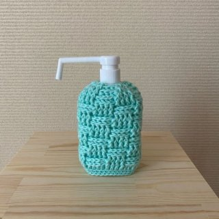 かぎ針編みのカバー付き アルコールスプレーボトル(ミントグリーン)
