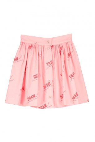 BEAU LOVES / Button Skirt / Draw / Washed Pink