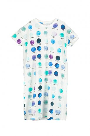 BEAU LOVES / T-shirt Dress / Paint Pallet Dots / Natural