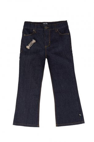 CarlijnQ / flared jeans with embroidery / candy / CND102