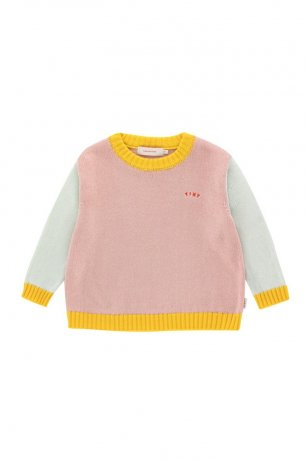 tinycottons / SS21-314 / TINY COLOR BLOCK BABY SWEATER / dusty pink/light blue grey