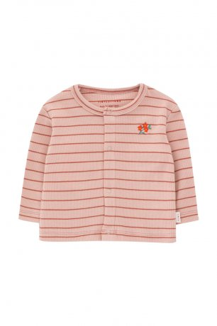 tinycottons / SS21-113 / FLOWERS STRIPES BABY CARDIGAN / dusty pink/maroon