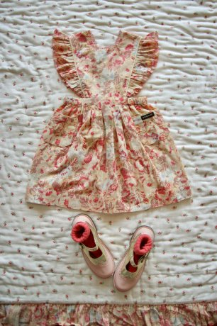 Bonjour [1st] / Reina Dress with scallop embroidery [2y,4y,6y] / Big flower print / S21REPK