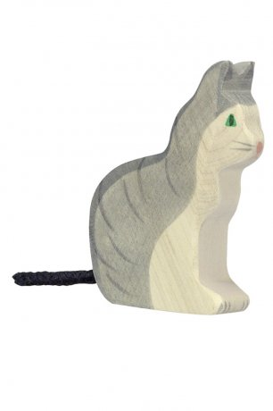Wooden Toy / Wooden Animal Cat, sitting / 80055