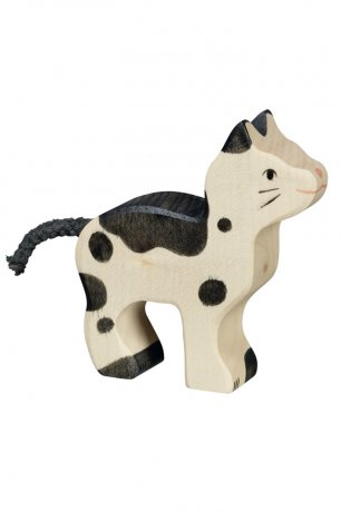 Wooden Toy / Wooden Animal Cat, small, black and white / 80540