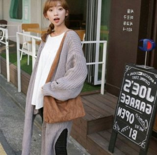 韓国ロングカーディガン❤ざっくりニットでスリットも入ってるから着やすい♪ロングカーディガン