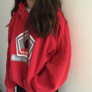 韓国パーカー❤ちょっとタポッと着るのがカワイイ♪ロゴ入りパーカー