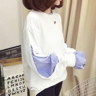 韓国トップス❤襟元から袖からチラリと♪ストライプが効いてるトップス