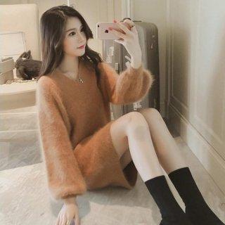 韓国ニット❤ふわふわゆったり♪綺麗色のロングニット