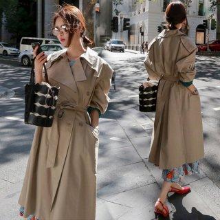 韓国トレンチコート❤大きな襟と袖の刺繍が個性的♪トレンチコート